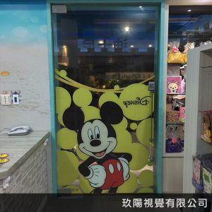 玖陽視覺 迪士尼玻璃超透貼 大圖輸出 貼圖施工